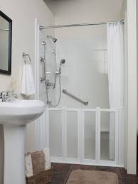 frosted glass bottom shower door combined with white curtain and