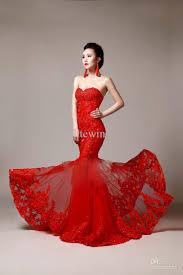 Red Wedding Dresses Discount Mermaid Wedding Dress Red Sweetheart Strapless Mermaid