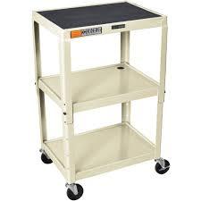 Metal Adjustable Shelving Luxor Avj42 Height Adjustable A V Steel Cart Three Shelves