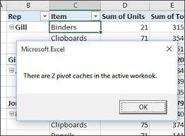 excel pivot table pivot cache