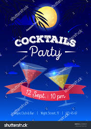 vector cocktails party poster night beach stock vector 472698007