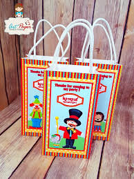 personalized party favors personalized party bag circus with name set of 10 paper