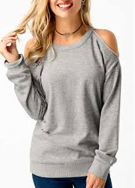 cold shoulder sweaters grey sleeve cold shoulder sweatshirt liligal com usd 32 25
