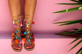 greek sandals lace up gladiator sandals pom pom sandals