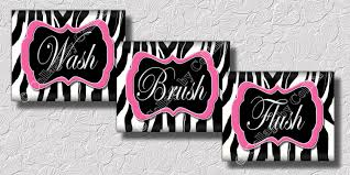 Animal Print Bathroom Ideas by Pink Zebra Print Wall Art Bathroom Decor Print Wash Brush