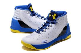 armour stephen curry 3 white blue yellow basketball shoes