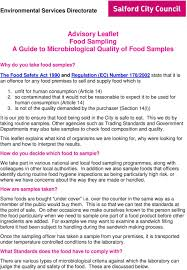 advisory leaflet food sampling a guide to microbiological quality