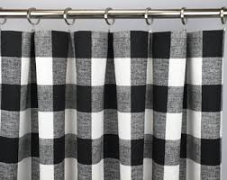 plaid curtains etsy