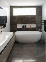 gray floor tile bathroom creative bathroom decoration nice oval freestanding soaker bathtubs on grey tile floors also single vessel sink vanity bath as modern small space grey bathrooms designs ideas