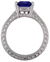 engraving engagement ring engraved platinum engagement ring with trillium sapphire bijoux