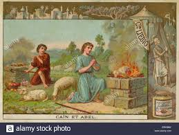 cain and abel offering their sacrifices to god liebig card bible