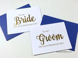 Groom To Bride Card Gold Foil To My Bride And Groom Wedding Day Card Bride And Groom