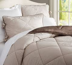 Linen Colored Bedding - linen silk comforter u0026 sham pottery barn