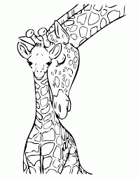 baby giraffe with mommy coloring page free printable coloring