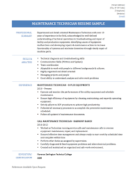 sample of combination resume maintenance technician resume samples templates and tips online maintenance technician resume