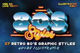 80 u0027s retro graphic styles layer styles creative market