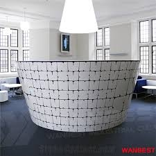 tufted salon reception desk factory price circle round artificial stone marble office beauty