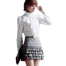 white blouses brand noble luxury tops shirt ruffle flounce