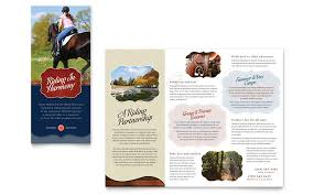 horse riding stables u0026 camp tri fold brochure template word