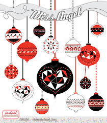 Black And White Christmas Decorations Clipart by Christmas Ornaments Clipart Christmas Balls Geometric Decor Tree