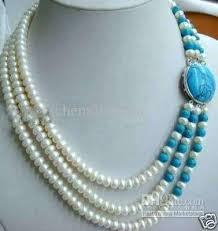 white turquoise necklace images 2018 beautiful 3 row white pearl necklace turquoise silver buckle jpg