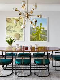monaco dining table sputnik chandelier lights up mid century dining room in monaco