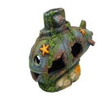 coral covered submarine ornament pets at home