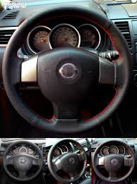 nissan tiida black visit to buy shining wheat hand stitched black leather steering