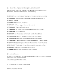 Declarative And Interrogative Sentences Worksheets 6 2 Adverb Part Of Speech