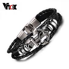 anchor bracelet black images Vnox vintage anchor bracelet black leather charm bracelets men jpeg