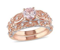 ben moss engagement sets 10k gold 0 25ctw diamond morganite bridal set ben moss