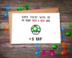 gamer valentines cards anniversary card level up 1 up level up card level up
