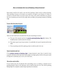 house estimate how to estimate the cost of painting a house exterior