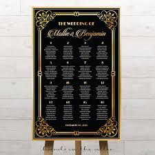 vintage charm art deco themed wedding table plan printable