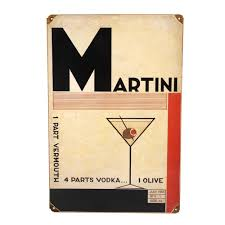 martini olive art art deco martini metal bar sign