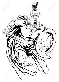 an illustration of a warrior character or sports mascot in a