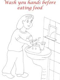 Hand Washing Coloring Sheets - wash hands before eating coloring page for kids