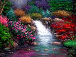 flower beautiful paintings drawing falls nature spring enchanting
