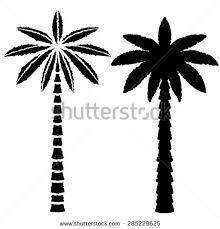 coconut palm trees line black silhouette stock illustration