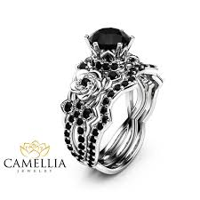 white and black diamond engagement rings products camellia jewelry