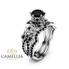 black wedding ring set 1 25ct black diamond engagement rings set 14k white gold black