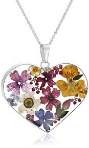 sterling heart pendant necklace images Sterling silver multicolored pressed flower heart jpg