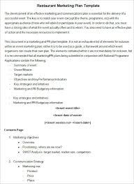 restaurant marketing plan template 8 free word pdf documents