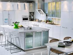 superb two tones kitchen island with glass doors for narrow liquor