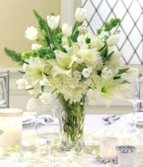 White Roses Centerpiece by Pearled Passions Reception Centerpiece At From You Flowers