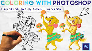coloring with photoshop from sketch to fully colored illustration