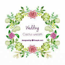 wedding quotes psd painted wedding succulent cactus wreath free vector