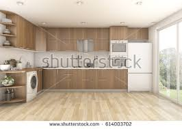 laundry in kitchen 3d rendering wood laundry kitchen stock illustration 614003702