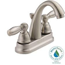 Peerless Kitchen Faucets by Peerless 4 In Centerset 2 Handle Bathroom Faucet In Brushed