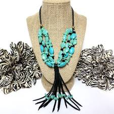 leather necklace turquoise stone images Best leather tassel necklace with beads products on wanelo jpg